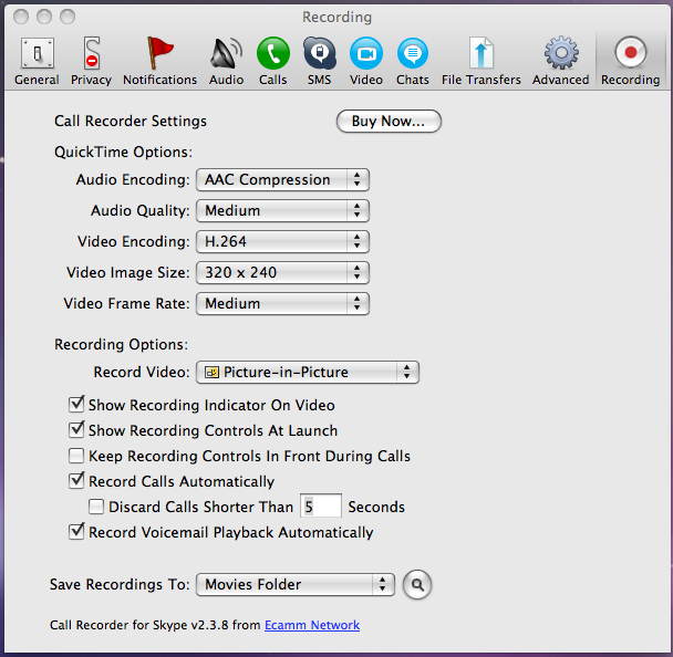 Ecamm Recording Preferences